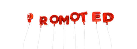 promoted: PROMOTED - word made from red foil balloons - 3D rendered.  Can be used for an online banner ad or a print postcard.