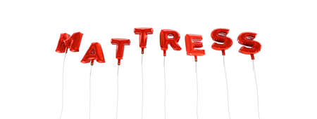 MATTRESS - word made from red foil balloons - 3D rendered.  Can be used for an online banner ad or a print postcard.