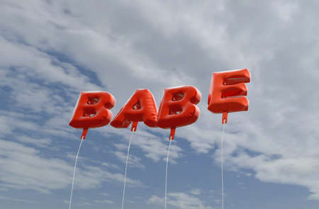 babe: BABE - red foil balloons on blue sky - 3D rendered royalty free stock picture. This image can be used for an online website banner ad or a print postcard. Stock Photo