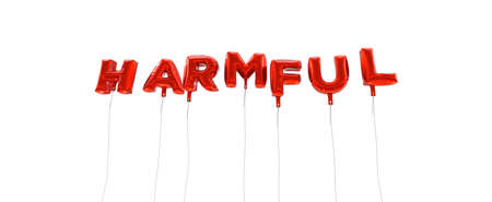 harmful: HARMFUL - word made from red foil balloons - 3D rendered.  Can be used for an online banner ad or a print postcard.