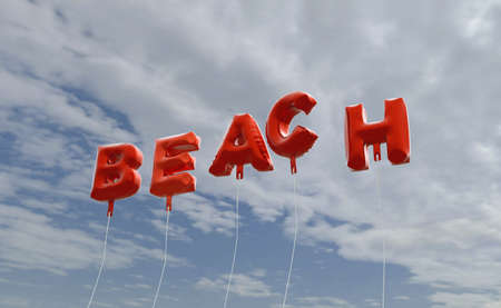 BEACH - red foil balloons on blue sky - 3D rendered royalty free stock picture. This image can be used for an online website banner ad or a print postcard. Stock Photo