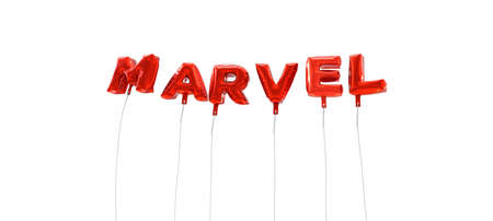 marvel: MARVEL - word made from red foil balloons - 3D rendered.  Can be used for an online banner ad or a print postcard.