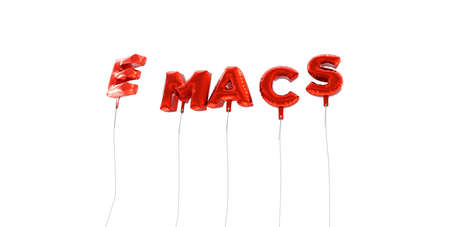 EMACS - word made from red foil balloons - 3D rendered.  Can be used for an online banner ad or a print postcard. Editorial