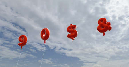 9 0 $ & - red foil balloons on blue sky - 3D rendered royalty free stock picture. This image can be used for an online website banner ad or a print postcard.