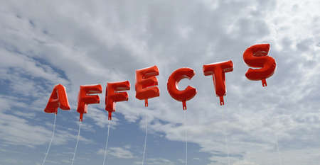 affects: AFFECTS - red foil balloons on blue sky - 3D rendered royalty free stock picture. This image can be used for an online website banner ad or a print postcard.