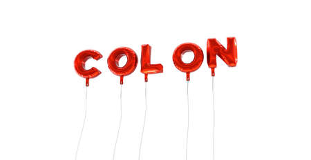 COLON - word made from red foil balloons - 3D rendered.  Can be used for an online banner ad or a print postcard.