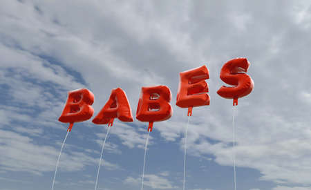 babes: BABES - red foil balloons on blue sky - 3D rendered royalty free stock picture. This image can be used for an online website banner ad or a print postcard.
