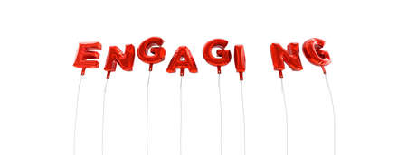 engaging: ENGAGING - word made from red foil balloons - 3D rendered.  Can be used for an online banner ad or a print postcard. Stock Photo