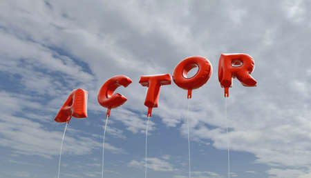 ACTOR - red foil balloons on blue sky - 3D rendered royalty free stock picture. This image can be used for an online website banner ad or a print postcard. Stock Photo