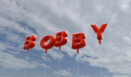 bobby: BOBBY - red foil balloons on blue sky - 3D rendered royalty free stock picture. This image can be used for an online website banner ad or a print postcard.