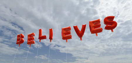 believes: BELIEVES - red foil balloons on blue sky - 3D rendered royalty free stock picture. This image can be used for an online website banner ad or a print postcard.
