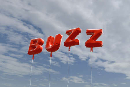 buzz: BUZZ - red foil balloons on blue sky - 3D rendered royalty free stock picture. This image can be used for an online website banner ad or a print postcard.