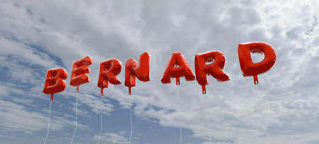 BERNARD - red foil balloons on blue sky - 3D rendered royalty free stock picture. This image can be used for an online website banner ad or a print postcard.