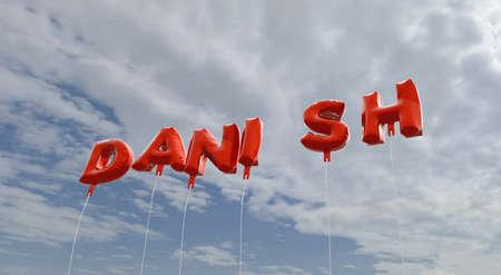 デンマーク語 - 赤箔青空 - 3 D レンダリングされたロイヤリティ フリーのストック画像の吹き出しです。この画像は、オンラインの web サイトのバナ 写真素材