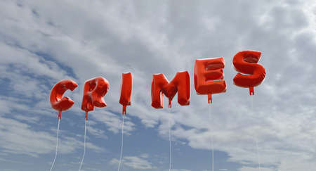 crimes: CRIMES - red foil balloons on blue sky - 3D rendered royalty free stock picture. This image can be used for an online website banner ad or a print postcard. Stock Photo