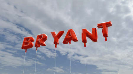 BRYANT - red foil balloons on blue sky - 3D rendered royalty free stock picture. This image can be used for an online website banner ad or a print postcard.