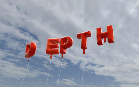 DEPTH - red foil balloons on blue sky - 3D rendered royalty free stock picture. This image can be used for an online website banner ad or a print postcard.