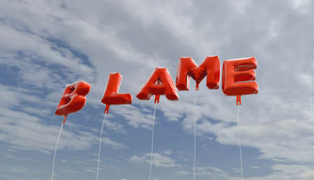 BLAME - red foil balloons on blue sky - 3D rendered royalty free stock picture. This image can be used for an online website banner ad or a print postcard.