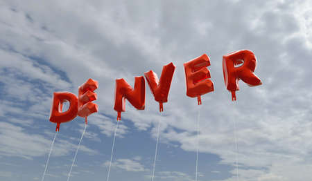 DENVER - red foil balloons on blue sky - 3D rendered royalty free stock picture. This image can be used for an online website banner ad or a print postcard. Stock Photo