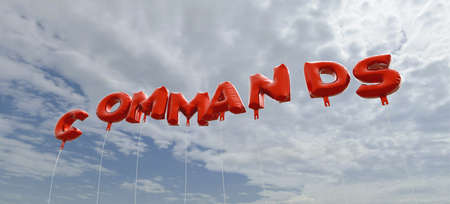 COMMANDS - red foil balloons on blue sky - 3D rendered royalty free stock picture. This image can be used for an online website banner ad or a print postcard.