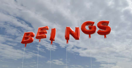 beings: BEINGS - red foil balloons on blue sky - 3D rendered royalty free stock picture. This image can be used for an online website banner ad or a print postcard.