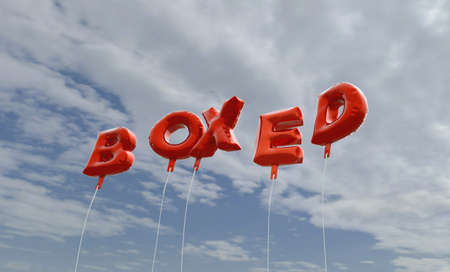 boxed: BOXED - red foil balloons on blue sky - 3D rendered royalty free stock picture. This image can be used for an online website banner ad or a print postcard.