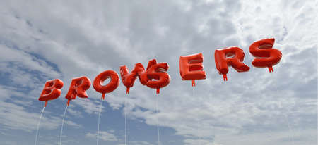 browsers: BROWSERS - red foil balloons on blue sky - 3D rendered royalty free stock picture. This image can be used for an online website banner ad or a print postcard.