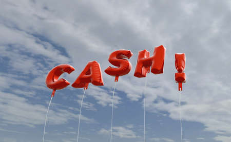 CASH! - red foil balloons on blue sky - 3D rendered royalty free stock picture. This image can be used for an online website banner ad or a print postcard.