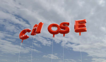 chose: CHOSE - red foil balloons on blue sky - 3D rendered royalty free stock picture. This image can be used for an online website banner ad or a print postcard. Stock Photo
