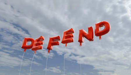 defend: DEFEND - red foil balloons on blue sky - 3D rendered royalty free stock picture. This image can be used for an online website banner ad or a print postcard.