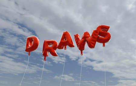 DRAWS - red foil balloons on blue sky - 3D rendered royalty free stock picture. This image can be used for an online website banner ad or a print postcard.