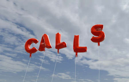 CALLS - red foil balloons on blue sky - 3D rendered royalty free stock picture. This image can be used for an online website banner ad or a print postcard.
