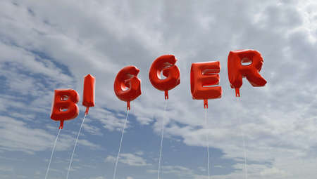 BIGGER - red foil balloons on blue sky - 3D rendered royalty free stock picture. This image can be used for an online website banner ad or a print postcard. Stock Photo