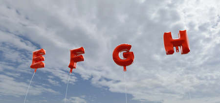 g string: E F G H - red foil balloons on blue sky - 3D rendered royalty free stock picture. This image can be used for an online website banner ad or a print postcard. Stock Photo