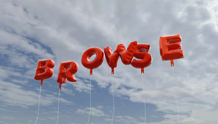 BROWSE - red foil balloons on blue sky - 3D rendered royalty free stock picture. This image can be used for an online website banner ad or a print postcard.