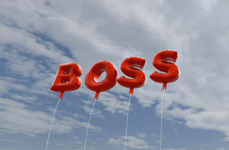 BOSS - red foil balloons on blue sky - 3D rendered royalty free stock picture. This image can be used for an online website banner ad or a print postcard. Imagens