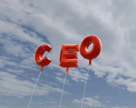 ceo: CEO - red foil balloons on blue sky - 3D rendered royalty free stock picture. This image can be used for an online website banner ad or a print postcard.