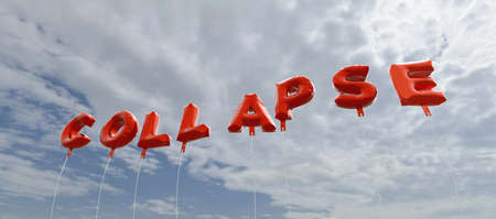 collapse: COLLAPSE - red foil balloons on blue sky - 3D rendered royalty free stock picture. This image can be used for an online website banner ad or a print postcard.