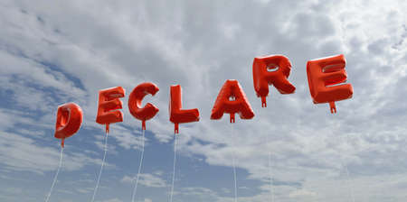 declare: DECLARE - red foil balloons on blue sky - 3D rendered royalty free stock picture. This image can be used for an online website banner ad or a print postcard. Stock Photo