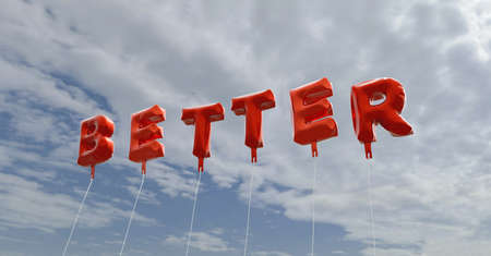 better: BETTER - red foil balloons on blue sky - 3D rendered royalty free stock picture. This image can be used for an online website banner ad or a print postcard.