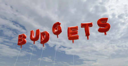 budgets: BUDGETS - red foil balloons on blue sky - 3D rendered royalty free stock picture. This image can be used for an online website banner ad or a print postcard.