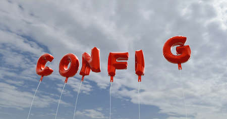 config: CONFIG - red foil balloons on blue sky - 3D rendered royalty free stock picture. This image can be used for an online website banner ad or a print postcard.