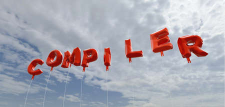 compiler: COMPILER - red foil balloons on blue sky - 3D rendered royalty free stock picture. This image can be used for an online website banner ad or a print postcard.