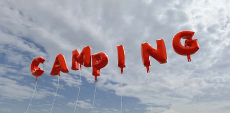 CAMPING - red foil balloons on blue sky - 3D rendered royalty free stock picture. This image can be used for an online website banner ad or a print postcard.