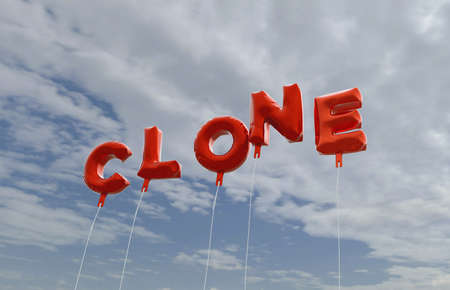 clone: CLONE - red foil balloons on blue sky - 3D rendered royalty free stock picture. This image can be used for an online website banner ad or a print postcard.