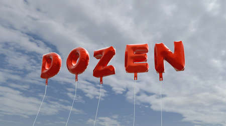 dozen: DOZEN - red foil balloons on blue sky - 3D rendered royalty free stock picture. This image can be used for an online website banner ad or a print postcard. Stock Photo