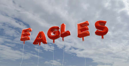 EAGLES - red foil balloons on blue sky - 3D rendered royalty free stock picture. This image can be used for an online website banner ad or a print postcard. Stock Photo