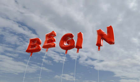 begin: BEGIN - red foil balloons on blue sky - 3D rendered royalty free stock picture. This image can be used for an online website banner ad or a print postcard.