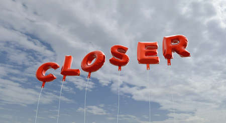 closer: CLOSER - red foil balloons on blue sky - 3D rendered royalty free stock picture. This image can be used for an online website banner ad or a print postcard.