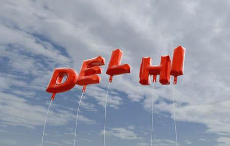 델리 - 붉은 호 풍선 푸른 하늘 -3D 렌더링 로열티 무료 사진보기. 이 이미지는 온라인 웹 사이트 배너 광고 또는 인쇄 엽서에 사용할 수 있습니다. 스톡 콘텐츠